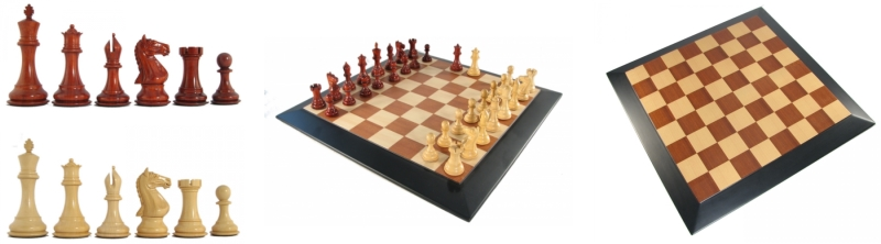 Crimson Rosewood Luxury Staunton Chess Pieces and Board