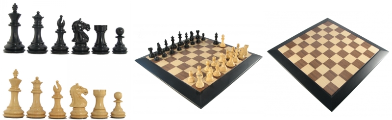 Ebony Luxury Staunton Chess Pieces and Board