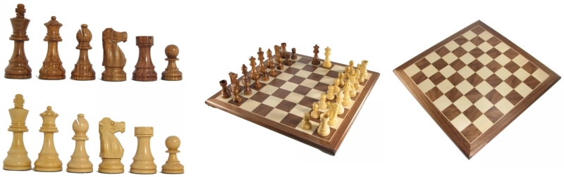 Honey Rosewood French Staunton Chess Pieces and Board
