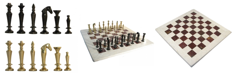 Metal and Marble Staunton Chess Pieces and Board