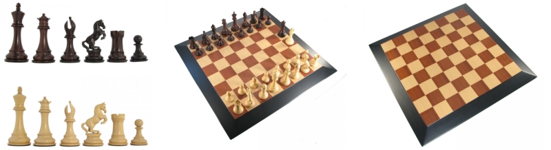 Crimson Rosewood Luxury Eques Staunton Chess Pieces and Board