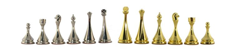 Gold and Silver Staunton Metal Chess Pieces