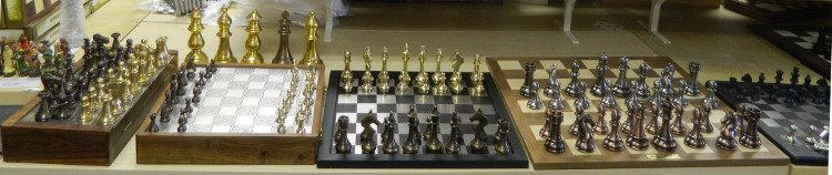 Our metal Stauton chess set section