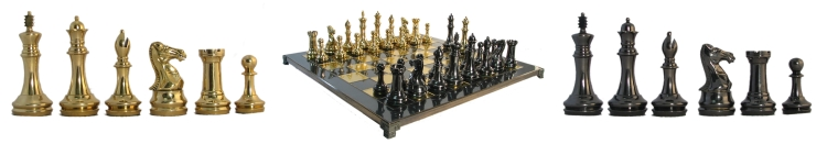 Brass Chessmen and Metal Chessboard