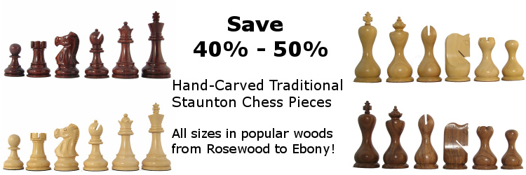 traditional wood staunton chess pieces on sale