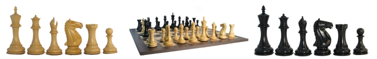 Massive Ebonized Chessmen with board