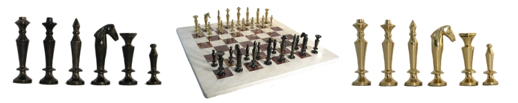 Metal Chessmen with Marble Chessboard