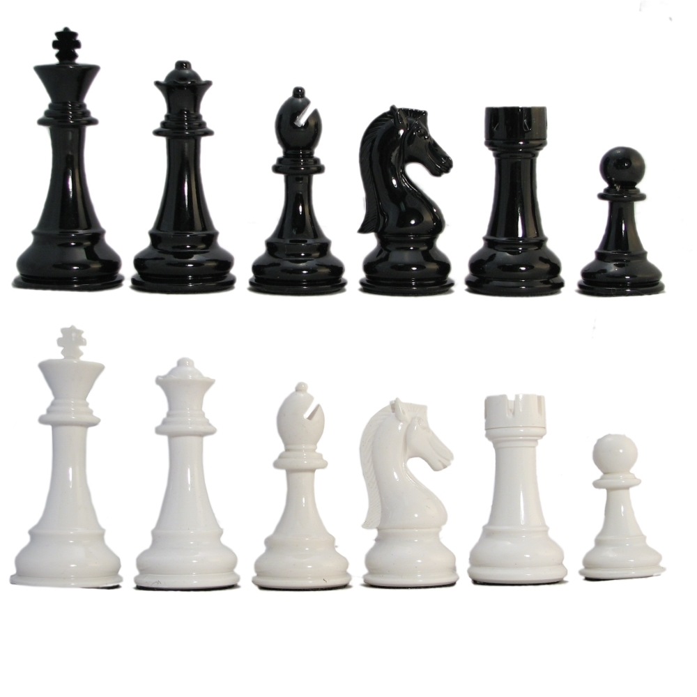 4 1 4 Quot Ultraweight Black And White Resin Staunton Chess Pieces
