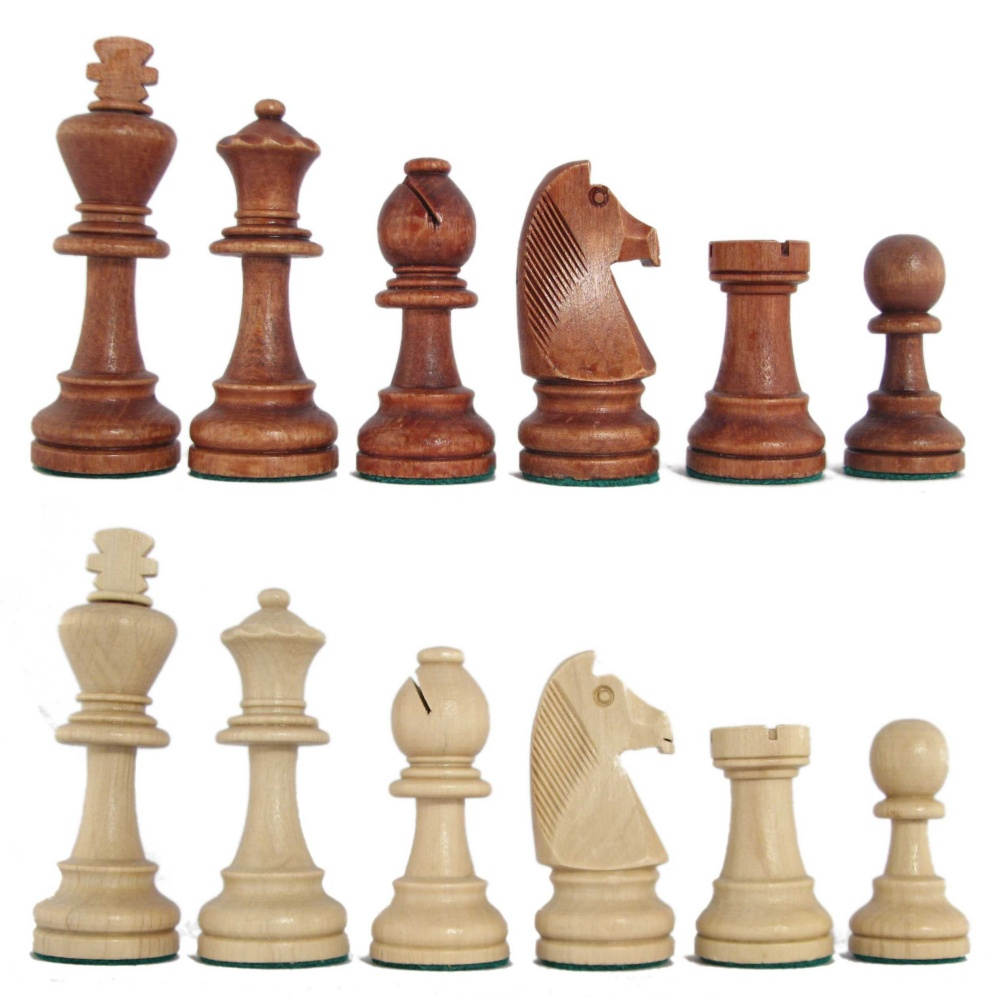 Stained Beech Standard Staunton Chess Pieces With Storage Box