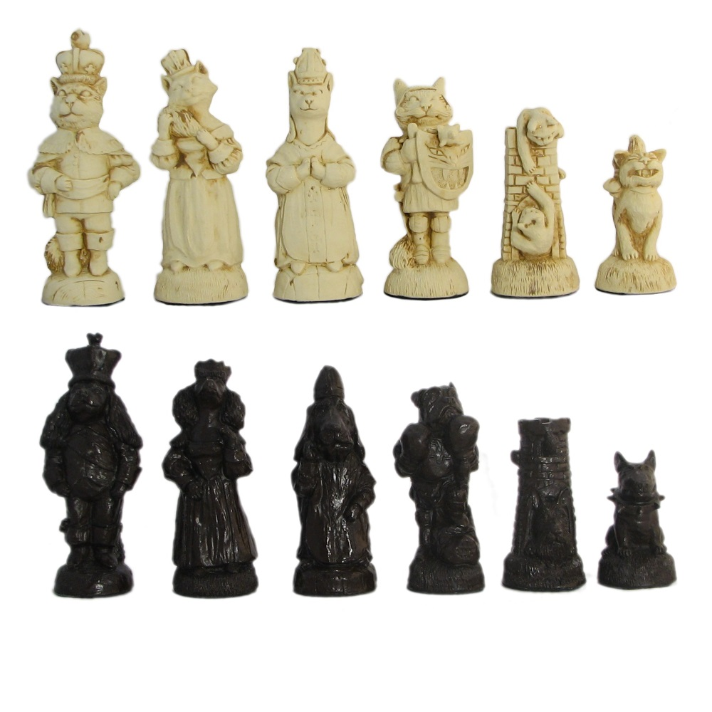 4 1 2 Quot Cats And Dogs Crushed Stone Chess Pieces