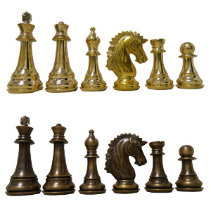 brass chess set with folding board