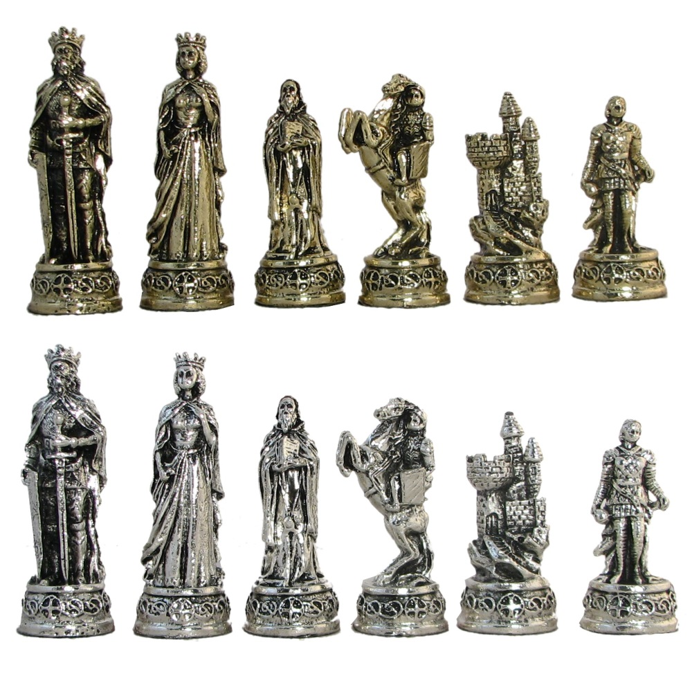 3 1 2 Camelot Metal Chess Pieces