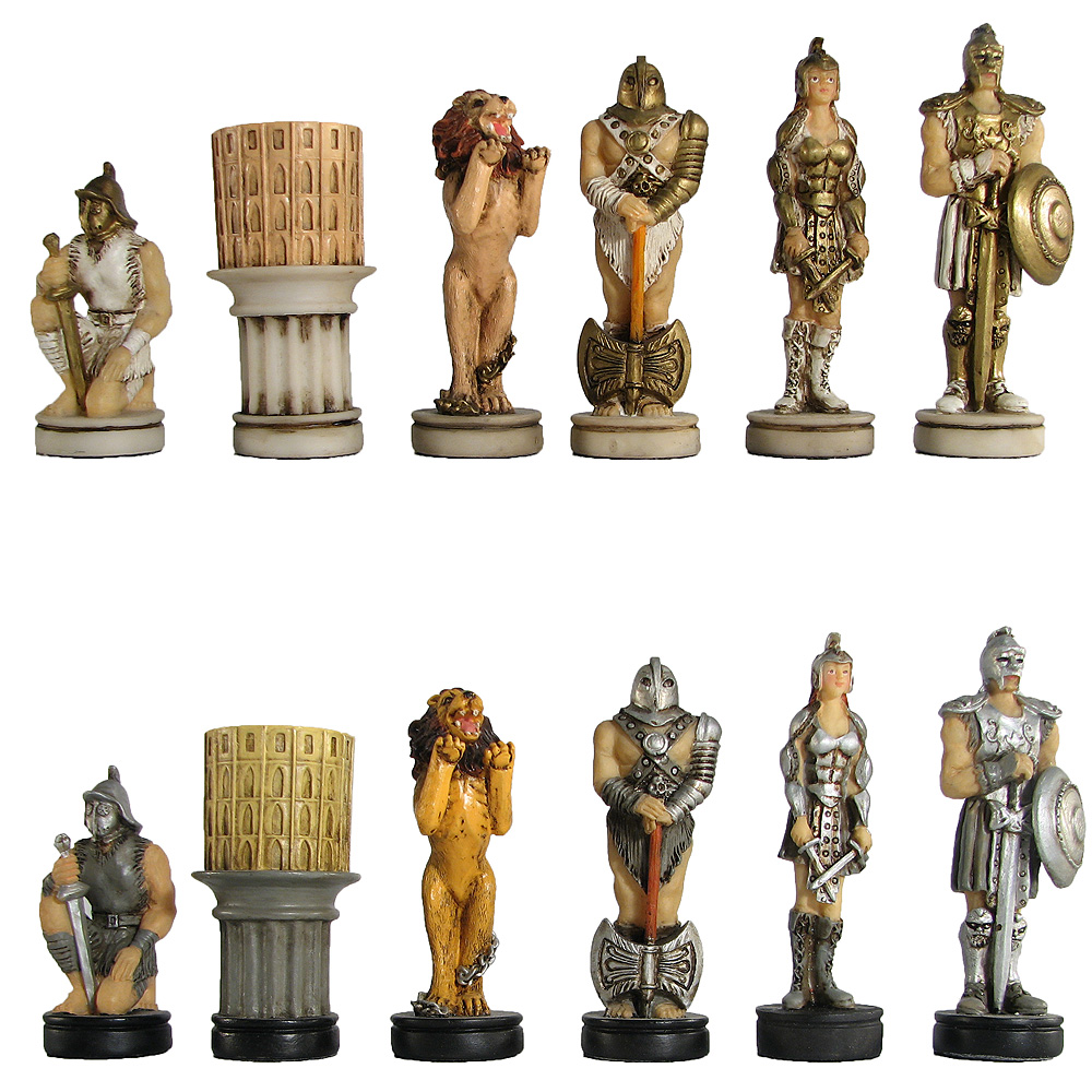Gladiator Theme Chess Pieces Hand Painted Chess Usa