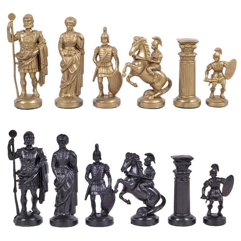 3 75 Quot Black Amp Gold Roman Legion Plastic Chess Pieces