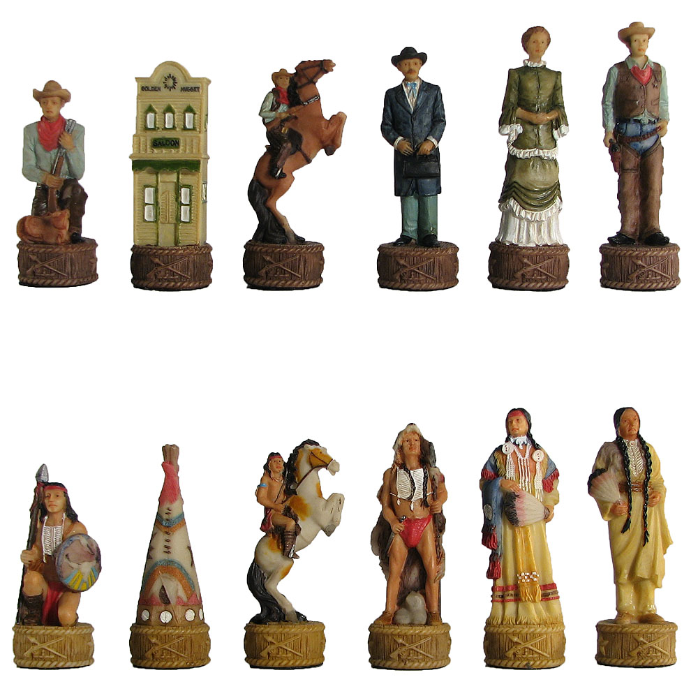 indians hand painted polystone chess pieces