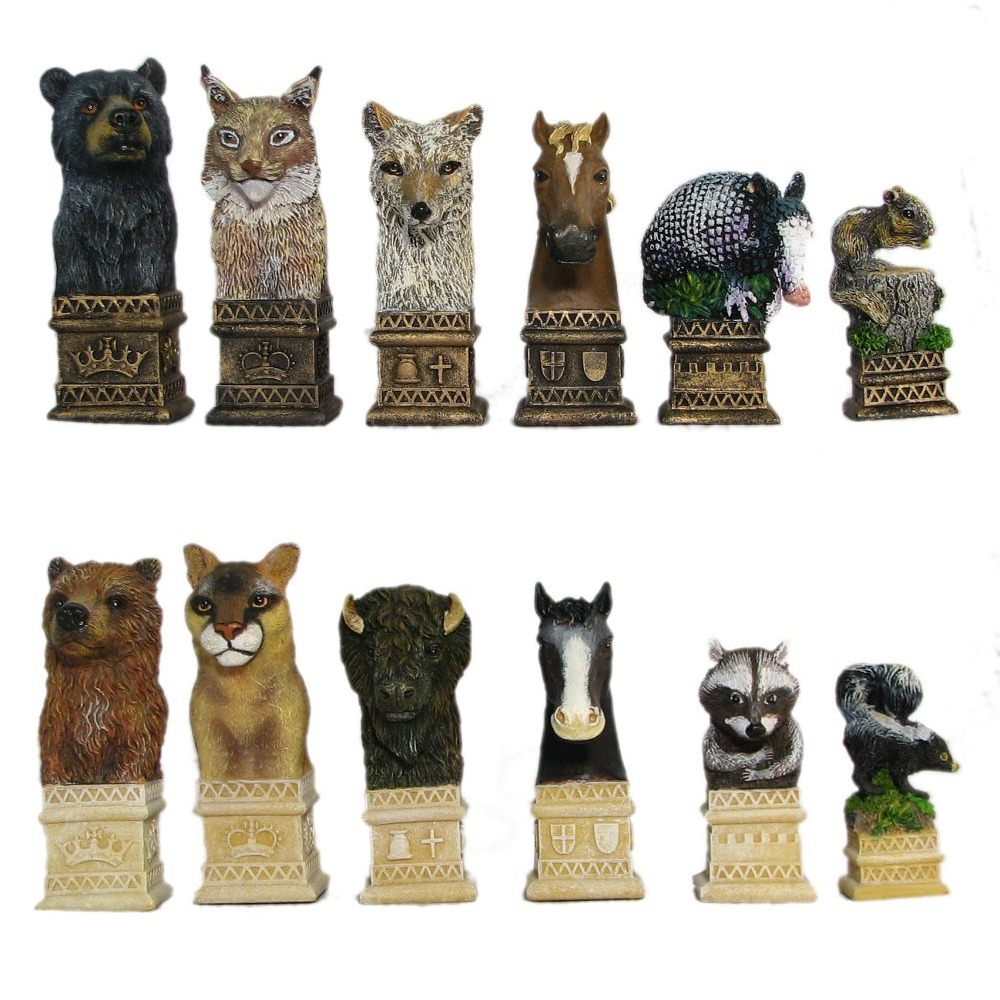 Greatest Wild Animals Hand Painted Polystone Chess Pieces LU44