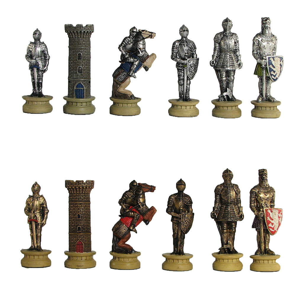Medieval Knights Chess Pieces Hand Painted