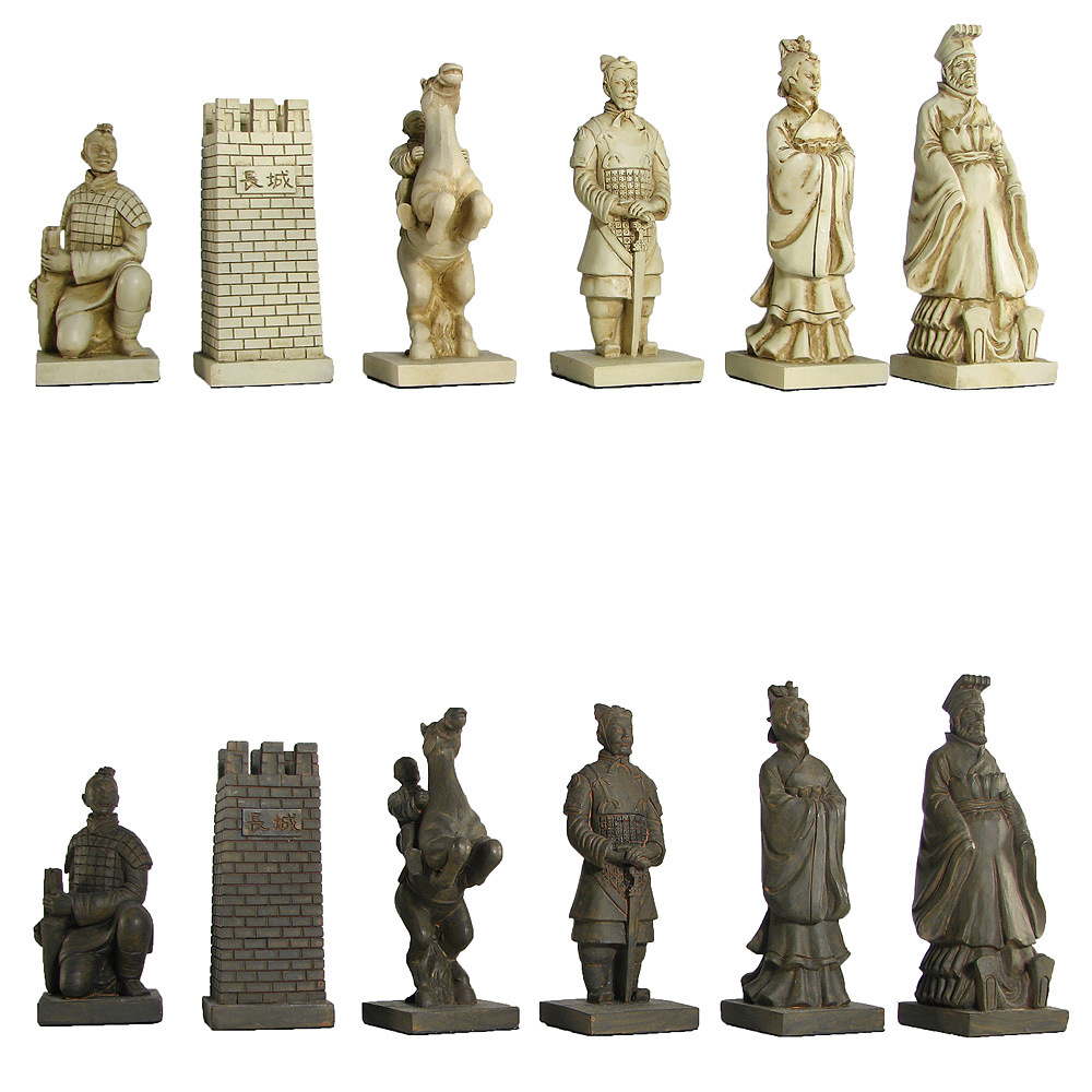 theme chess pieces ancient chinese statues