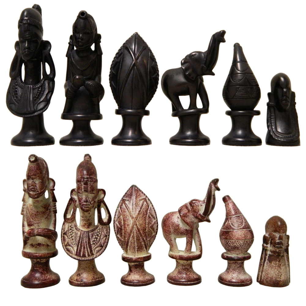 Black Amp Red Soapstone African Tribe Chess Pieces