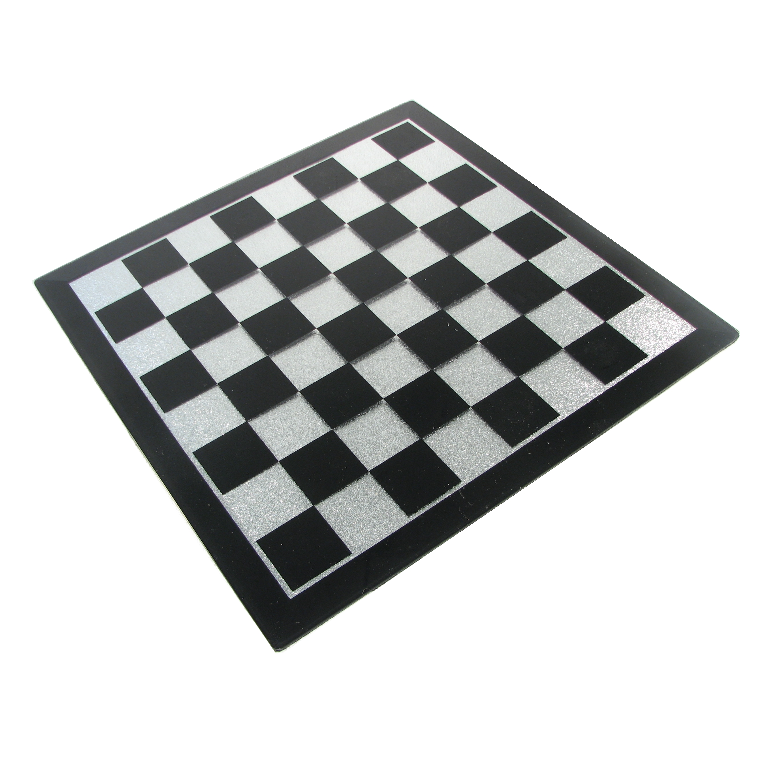 White Paint 16 Quot Black And Silver Glass Chess Board