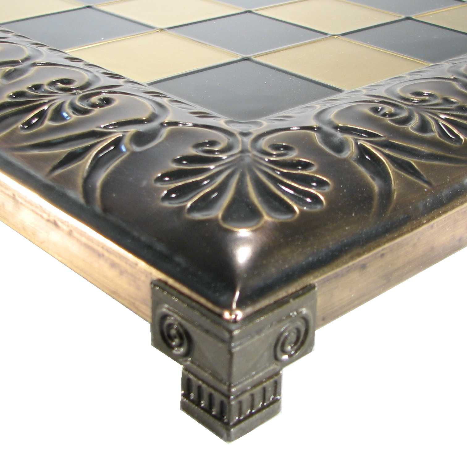 "18"" Raised Metal Byzantine Chess Board"