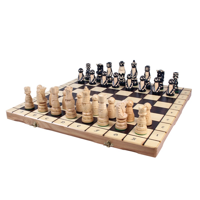 21 Hand Carved Medieval Chess Set