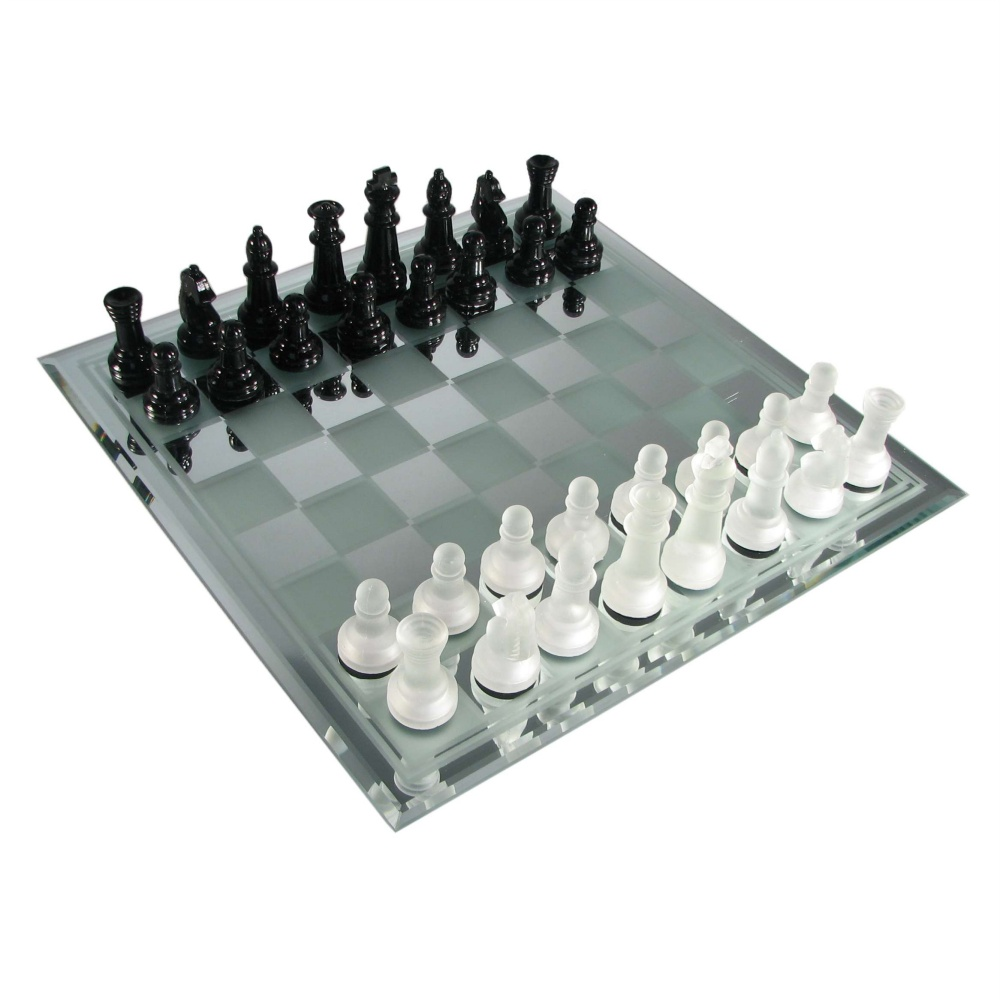 Unique Chess Set Black And Frosted Glass Chess Set With Mirror Board