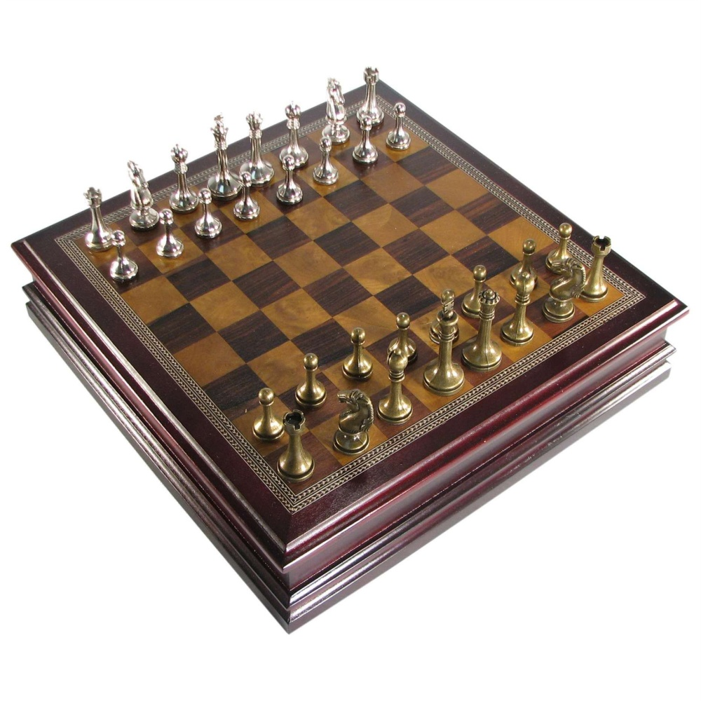 Antique Pewter Finish Staunton Chess Set In Cherry Finish Storage Box