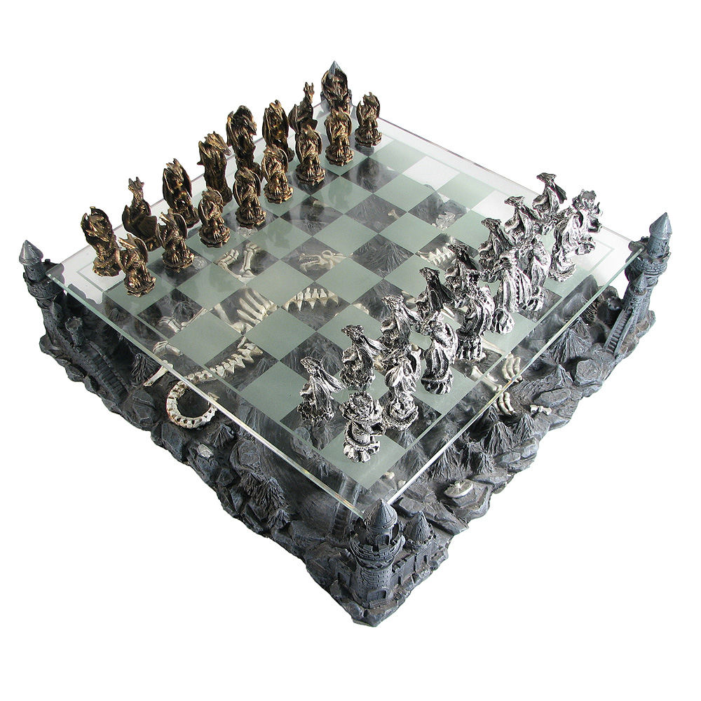15 Quot Pewter And Glass Dragon Chess Set