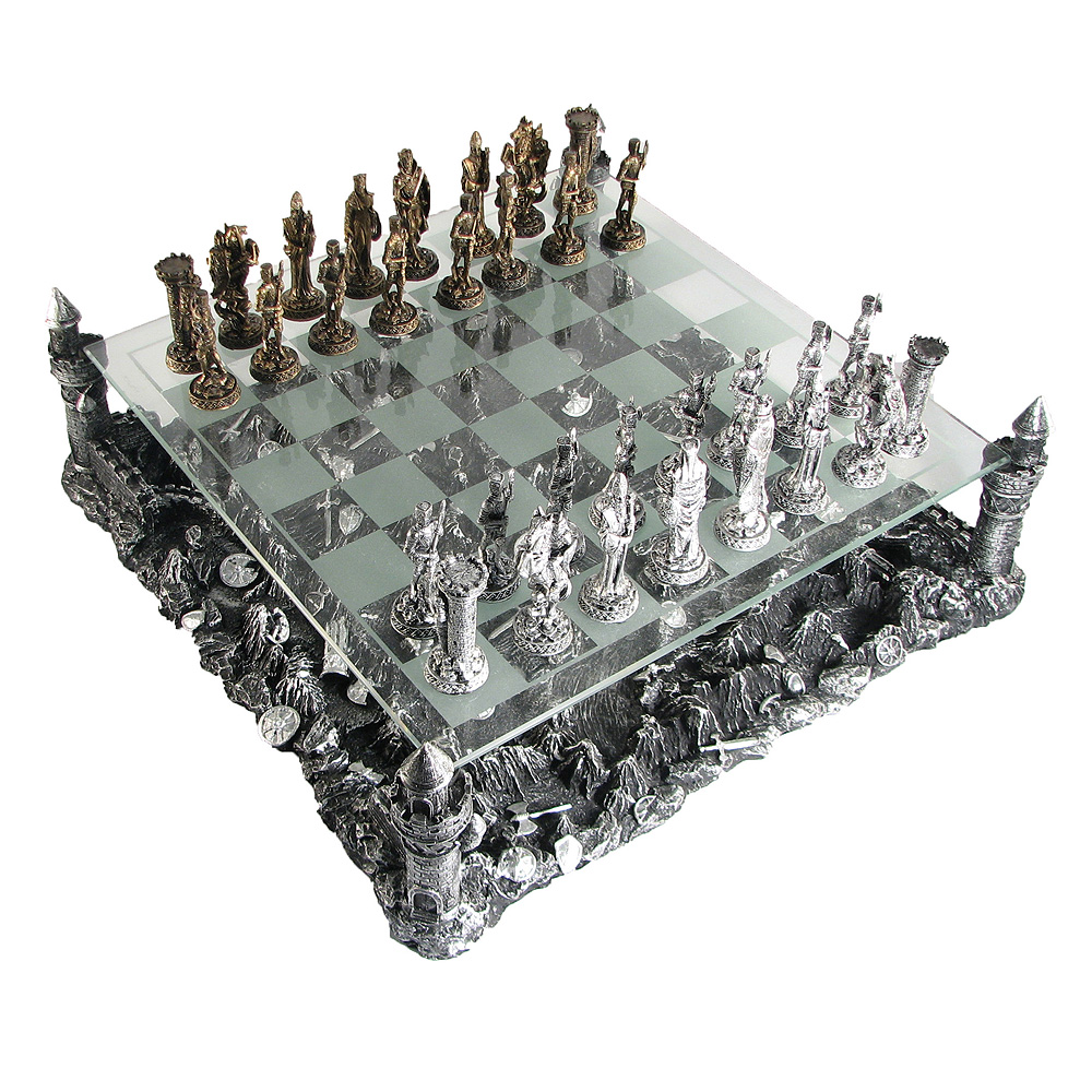 15 Pewter And Glass Medieval Knights Chess Set