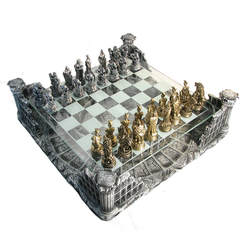 chess sets for sale pewter amp glass coliseum chess set 29974