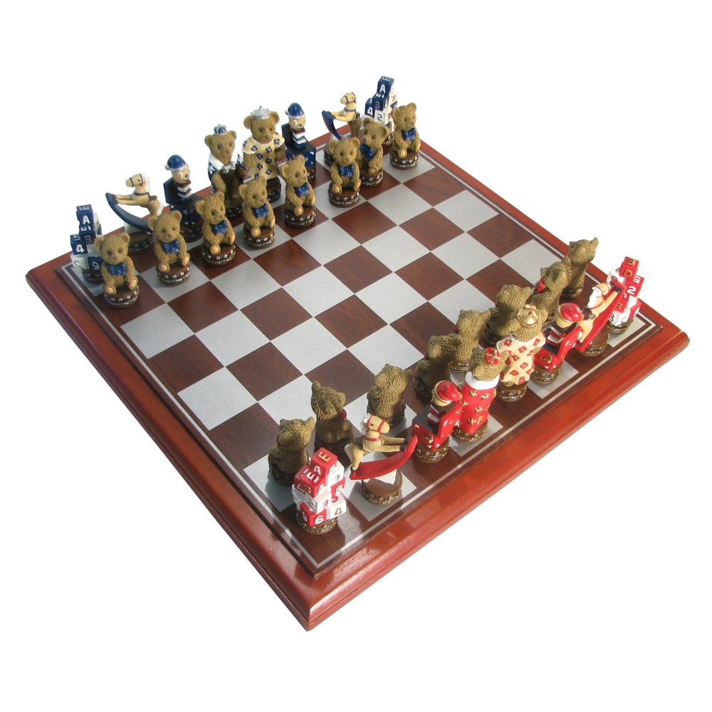Hand Painted Polystone Teddy Bear Chess Set