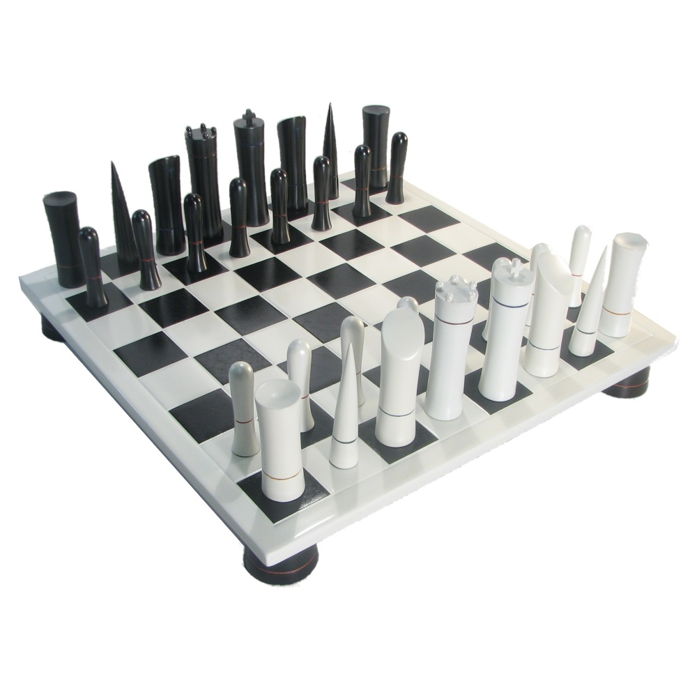 Contemporary Chess Set Black & White Modern Style Chess Set