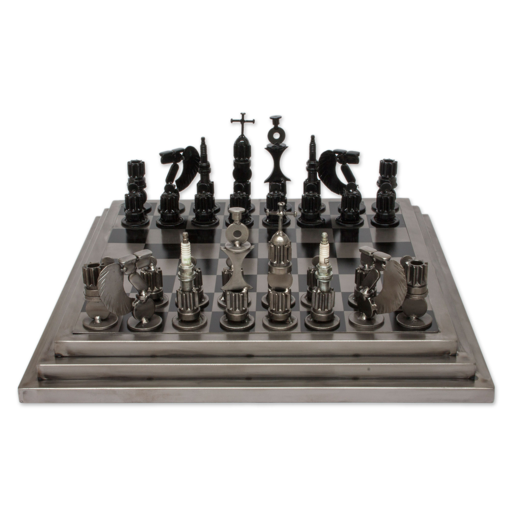 Steel Chess Set recycled auto part rustic warrior chess set