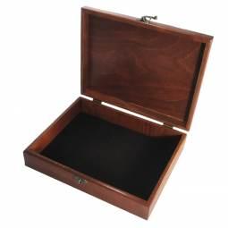 American Made Mahogany Stain Wooden Chess Storage Box